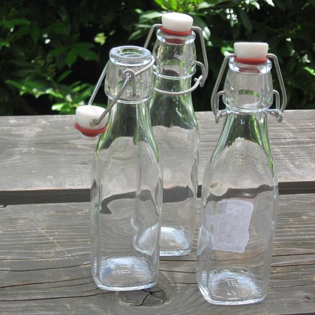 Üveg, szögletes csatos 0,25 l
