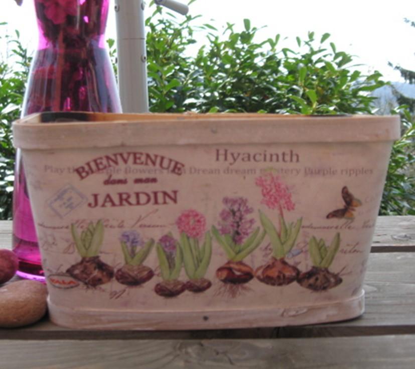 Fakéreg virágláda, festett, jácintmintás