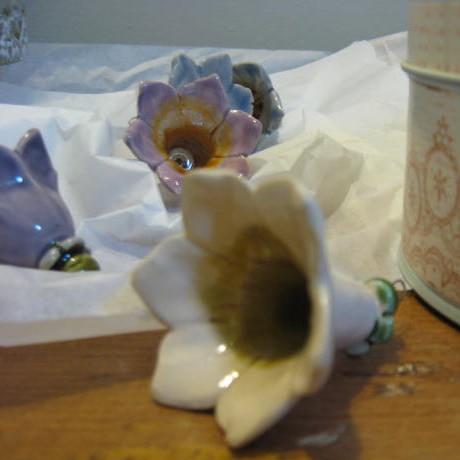 Kerámia virág, fehér