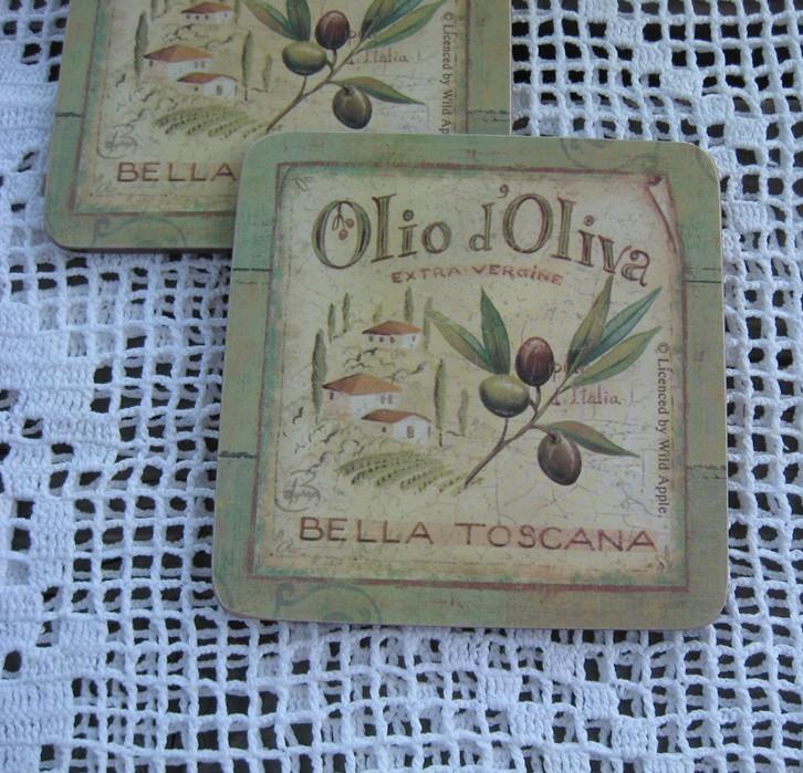 Asztali poháralátét készlet olívamintás