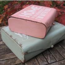 Vintage fém doboz - rózsaszín