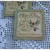 Poháralátét készlet olívamintás