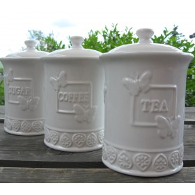 Kerámia cukor/tea/kávé tároló készlet, pillangós mintával
