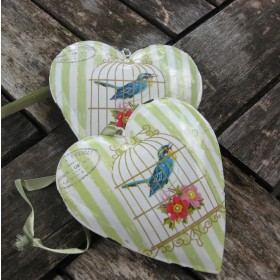 Madár mintás dekor szív