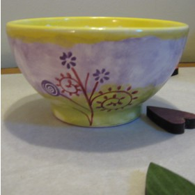 Kerámia, modern mintás lila-sárga müzlis tál