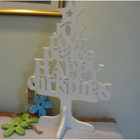 Karácsonyfa, festett Jov, Love felirattal, fehér