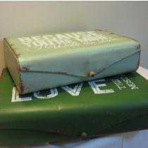 Vintage fém doboz - világos zöld