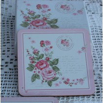 Poháralátét készlet romantikus rózsás