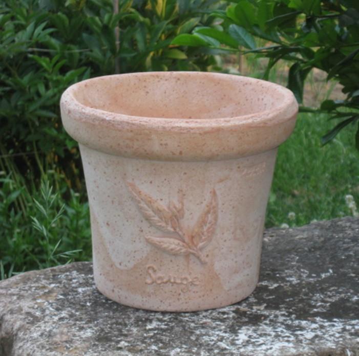 Mediterrán, fűszermintás rusztikus cserép18 cm