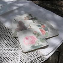 Asztali poháralátét készlet antik rózsás