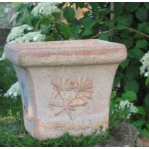 Mediterrán, fűszermintás rusztikus cserép 18 cm